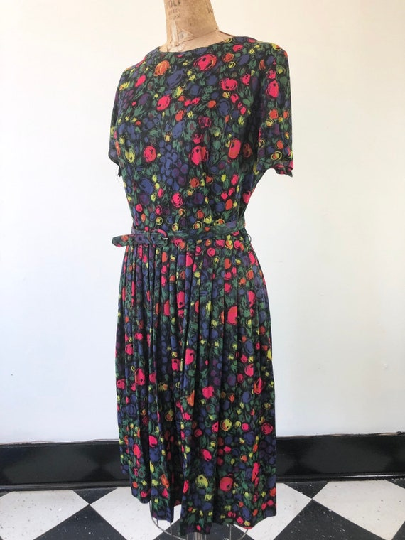 CUTE 1960s Floral Belted Two Piece Dress Set M - image 4