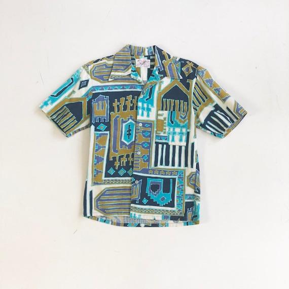 KILLER 1950's Sears Hawaiian Barkcloth Shirt S