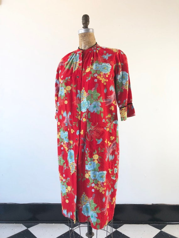 BEST 1950's Floral Flannel Housecoat S
