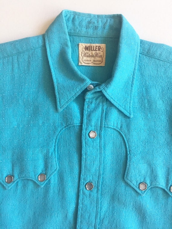 1950s Miller Western Wear Turquoise Cotton Wester… - image 4