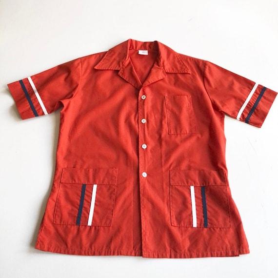 1970s Jantzen Red Bowling Shirt L
