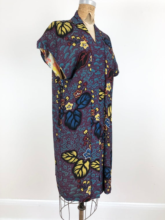1950s Printed Rayon and Silk Sleeveless Kimono S M