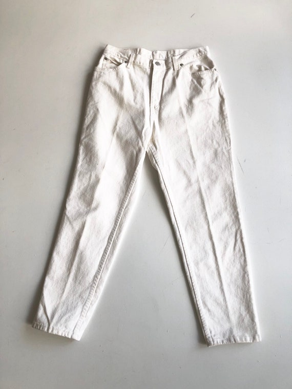 "1980s Faded Glory White High Rise Jeans 30"" Waist"