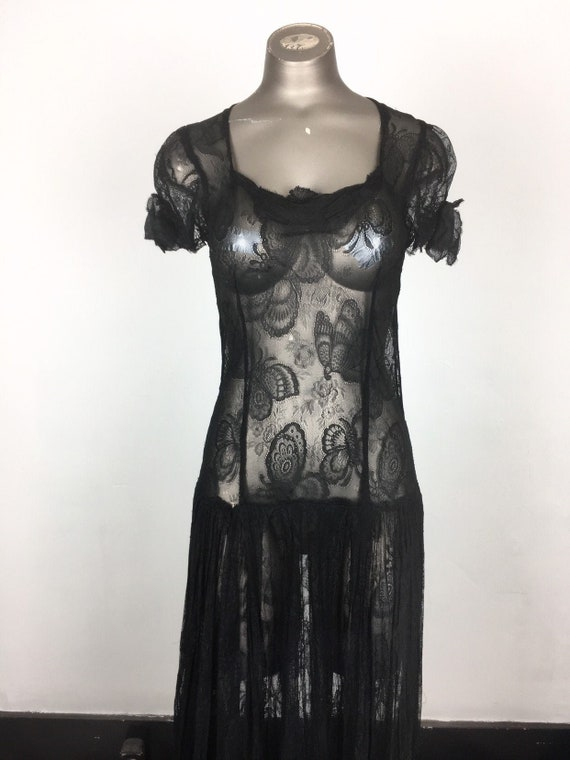 Incredible 1930s Black Butterfly Lace Dress S