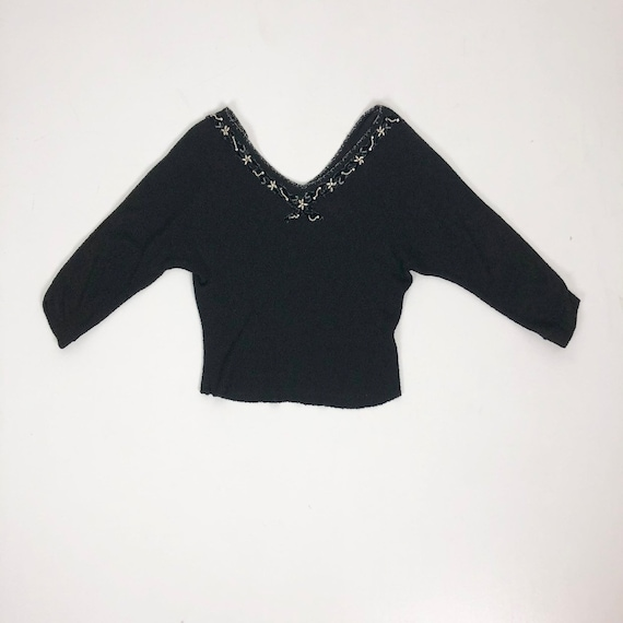 Fabulous 1950s Beaded Rhinestone Knit Top M