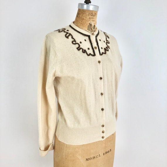 Cashmere 1950s Glass Button Sweater vintage cardigan cashmere cardigan beaded 50s cardigan