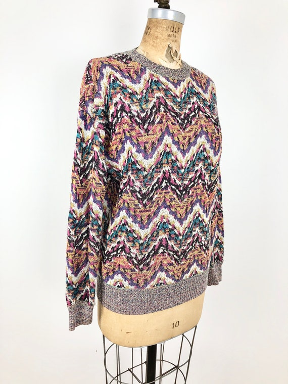 1980s Missoni Rainbow Chevron Space Dye Sweater S