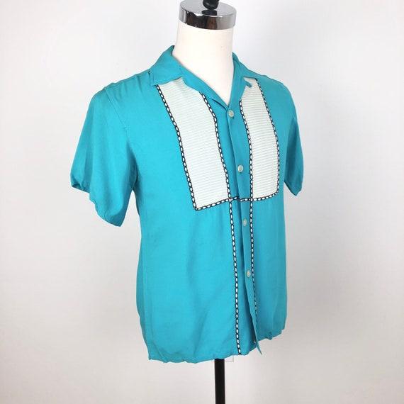1950s Turquoise Gabardine Short Sleeve Loop Collar