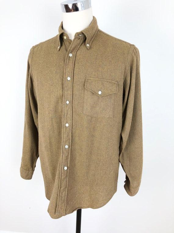 1950s Ara's Mustard Flecked Wool Flannel Shirt L