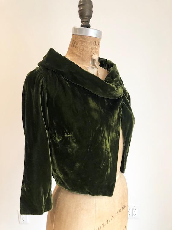 FABULOUS! 1950s Emerald Green Velvet Bolero S