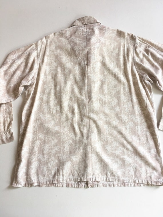 1940s Abstract Print Linen Men's Shirt XL - image 9