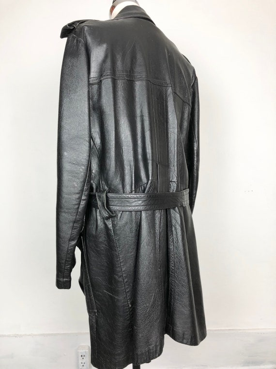 70s Black Leather Belted Trench Coat XL - image 8