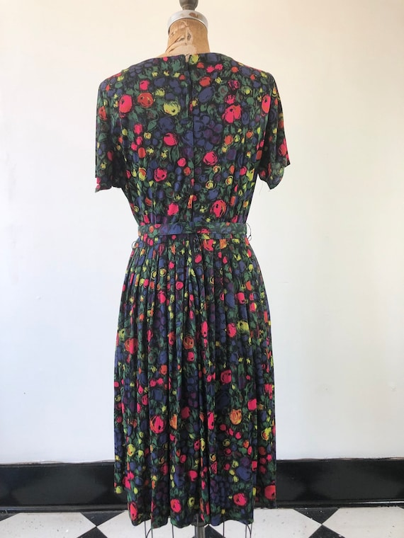 CUTE 1960s Floral Belted Two Piece Dress Set M - image 7