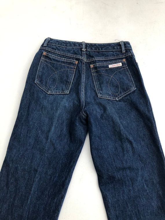 1980s Calvin Klein High Waisted Dark Blue Denim J… - image 5