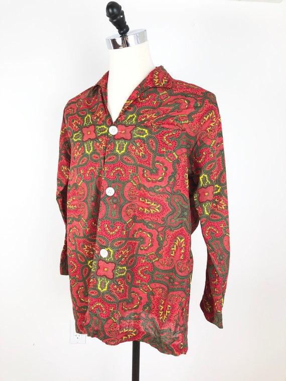 1950s Saks Fifth Avenue Red Paisley Cotton Pajama