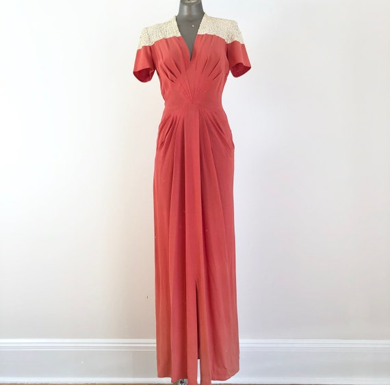 1940's Coral Rayon Crepe Sequined Gown XS