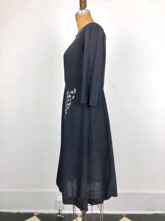 1930s Navy Silk Floral Embroidered Peasant Dress S - image 7