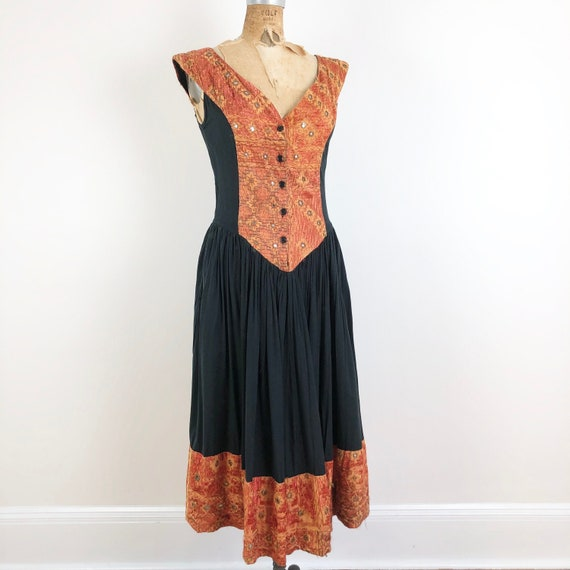 1970s Indian Embroidered Mirror Sun Dress S
