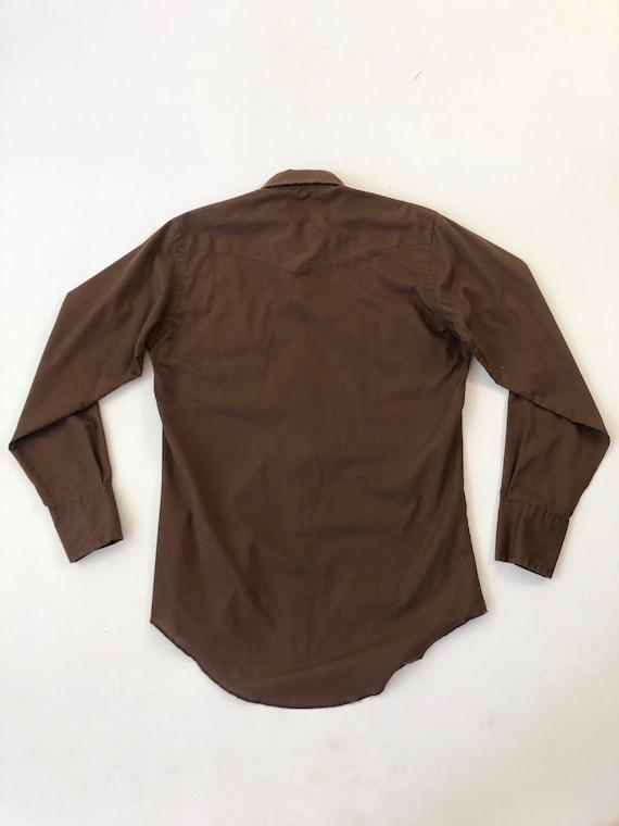 1970's Wrangler Brown Western Snap Shirt S - image 6