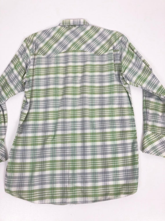 50's Ranchcraft Green Plaid Western Shirt S - image 8