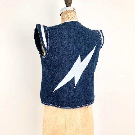 Ziggy Stardust 1970s Lightening Strike Denim Vest