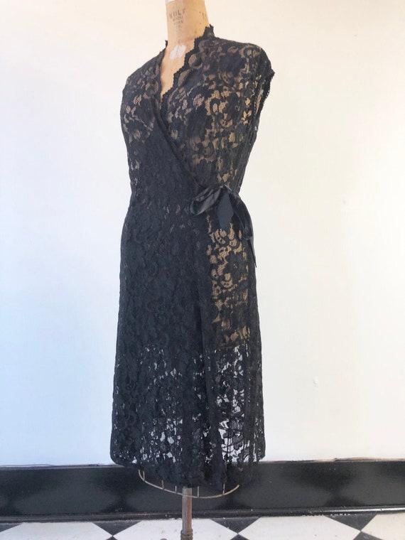 AMAZING 1970's Sheer Black Lace Wrap Dress M