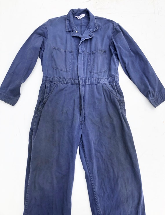 1950s Dubbleware Indigo Cotton Coveralls M