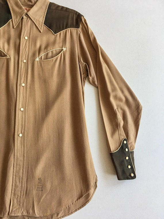 1940s Rayon Gabardine Western Shirt M - image 2
