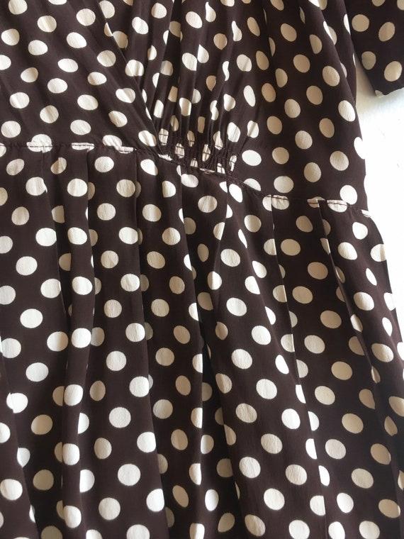 KILLER 1940s Brown Polka Dot Cold Rayon Dress M L - image 5