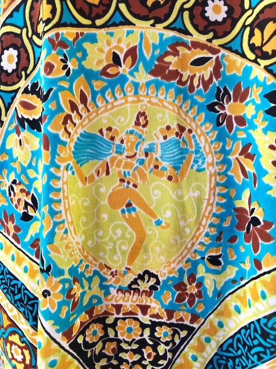 GROOVY 1960's Psychedelic Kali Print Kaftan M - image 3