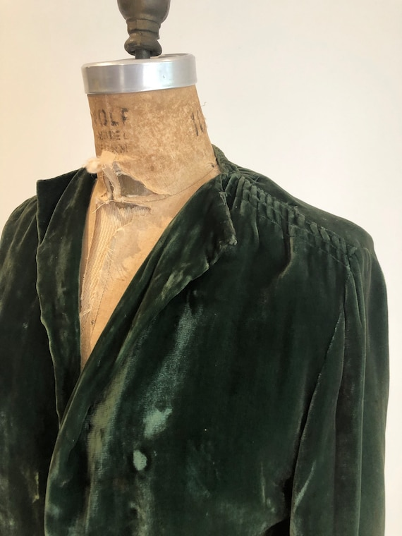 1930s Emerald Green Silk Velvet Jacket S - image 2