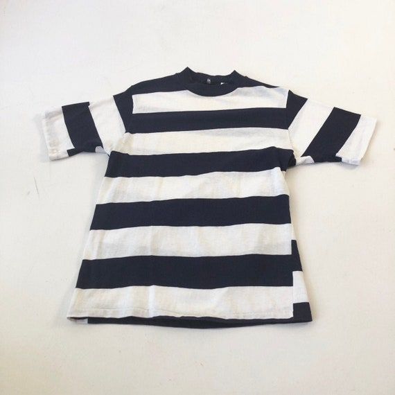 1950's Navy Striped Cotton T Shirt S