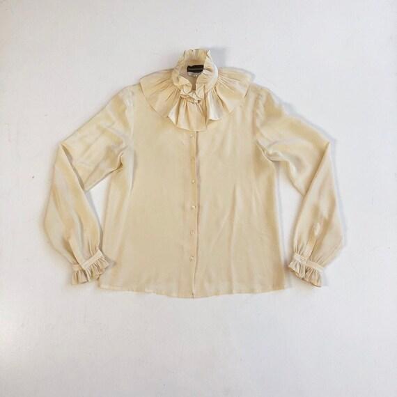 LOVELY 1970s Ivory Silk Ruffle Blouse S