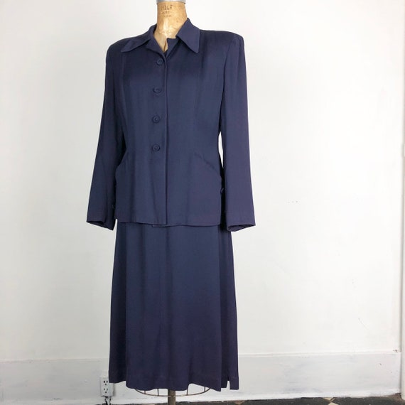 1940s Navy Rayon Gabardine Skirt Suit Set S