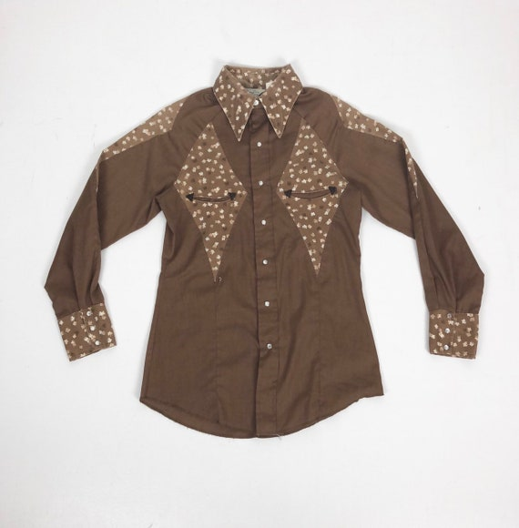 1970s Larry Mahan Brown Floral Western Shirt S