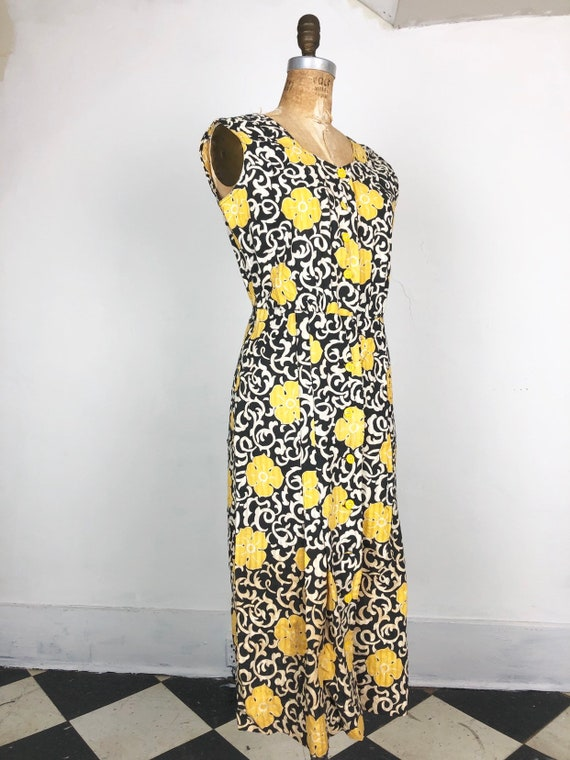 1930's Black and Yellow Printed Seersucker Cotton
