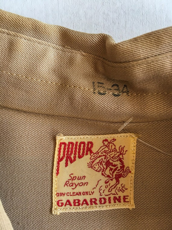 1940s Rayon Gabardine Western Shirt M - image 8