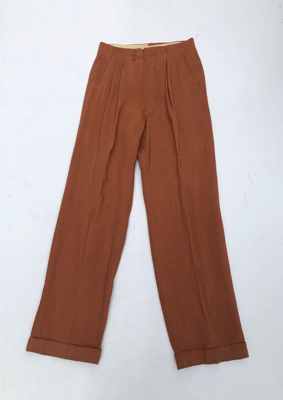 Fabulous 1940's Orange Pleated High Waist Trousers