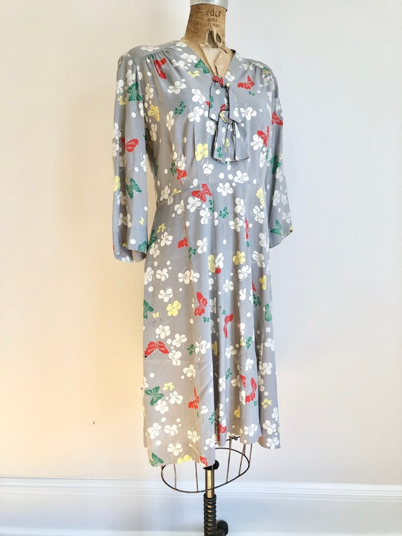 1940s Butterfly Print Cold Rayon Dress M