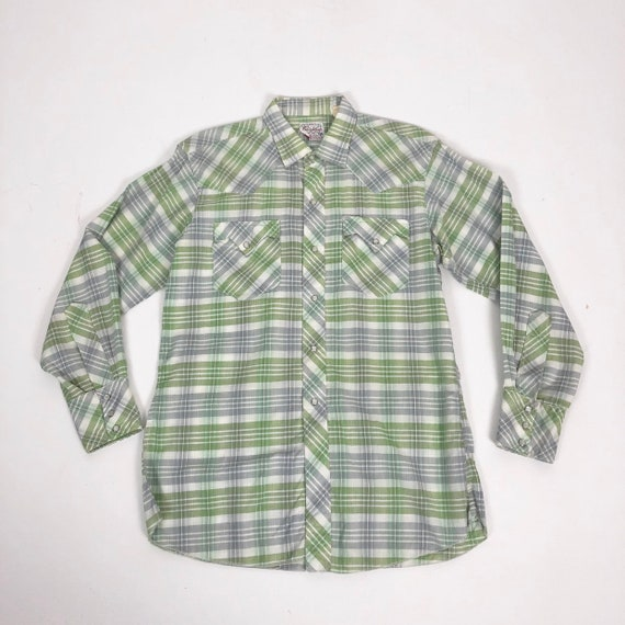 50's Ranchcraft Green Plaid Western Shirt S - image 1