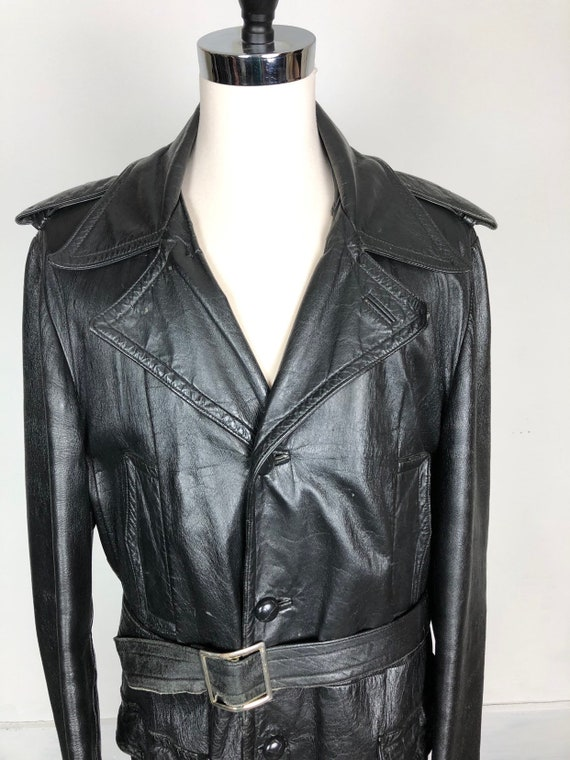 70s Black Leather Belted Trench Coat XL - image 5
