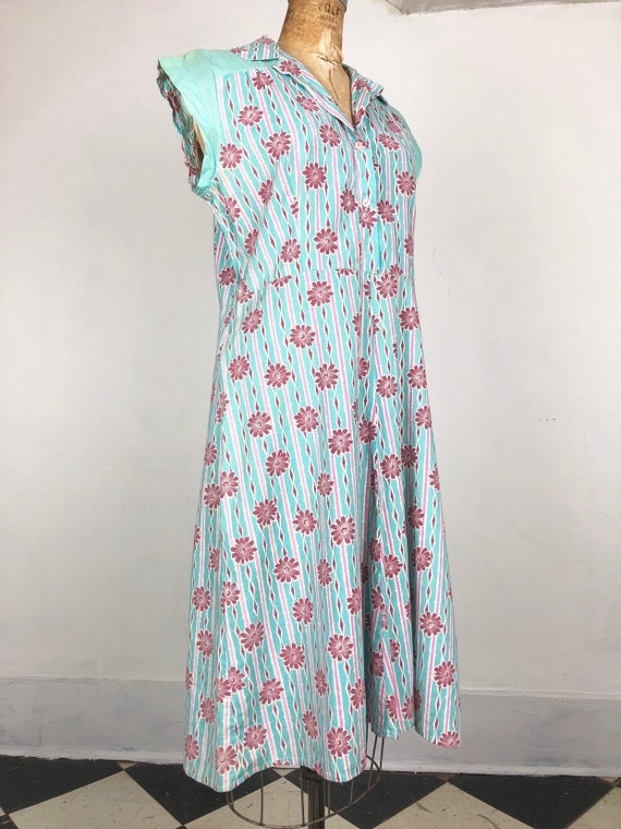 SWEETEST 1930's Teal and Pink Floral Cotton Shirt