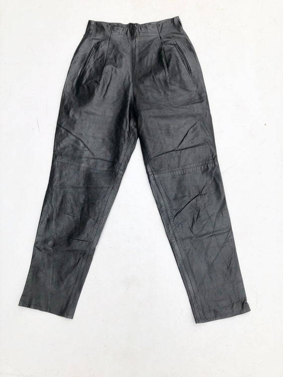 1980s Black Leather High Waisted Trousers 27""