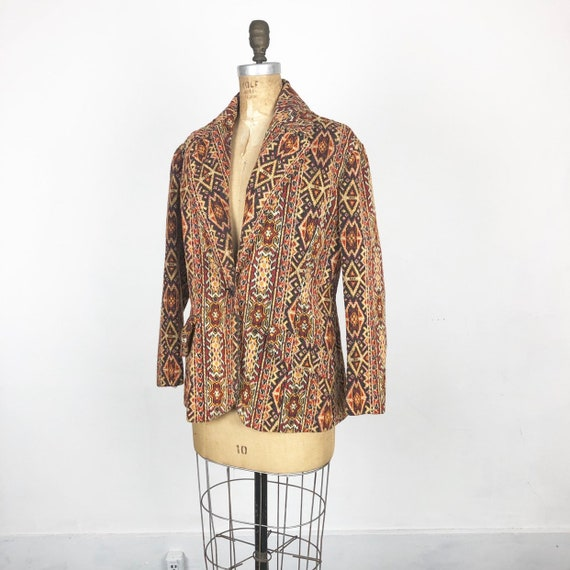 Fabulous 1960's Needlepoint Tapestry Coat M