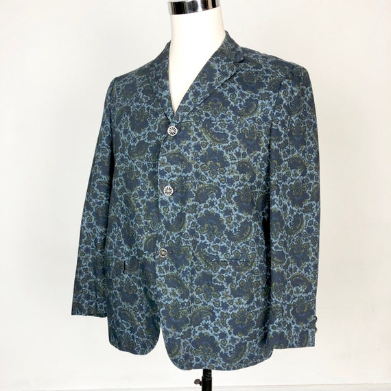 1960s Paisley Print Cotton Dinner Jacket S - image 1