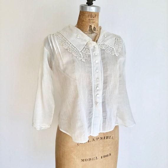 Antique Victorian White Cotton Lace Blouse S
