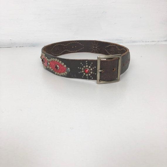 1950s Rockabilly Studded Rhinestone Leather Belt W