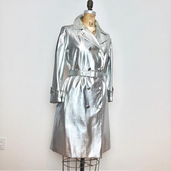 1960's Mod Silver Vinyl Trench Coat S