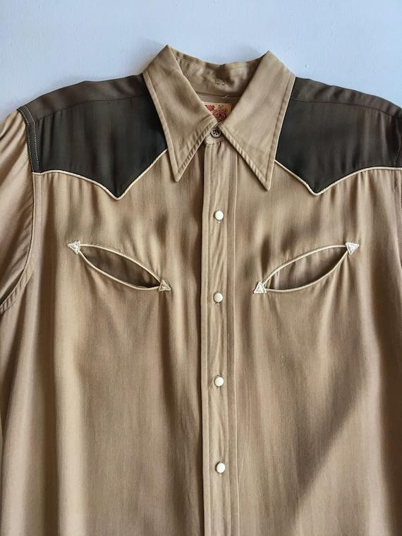 1940s Rayon Gabardine Western Shirt M - image 5
