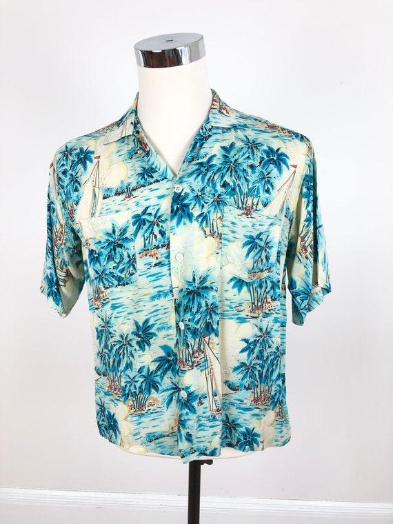 1960s Blue Rayon Paradise Island Hawaiian Aloha S… - image 4